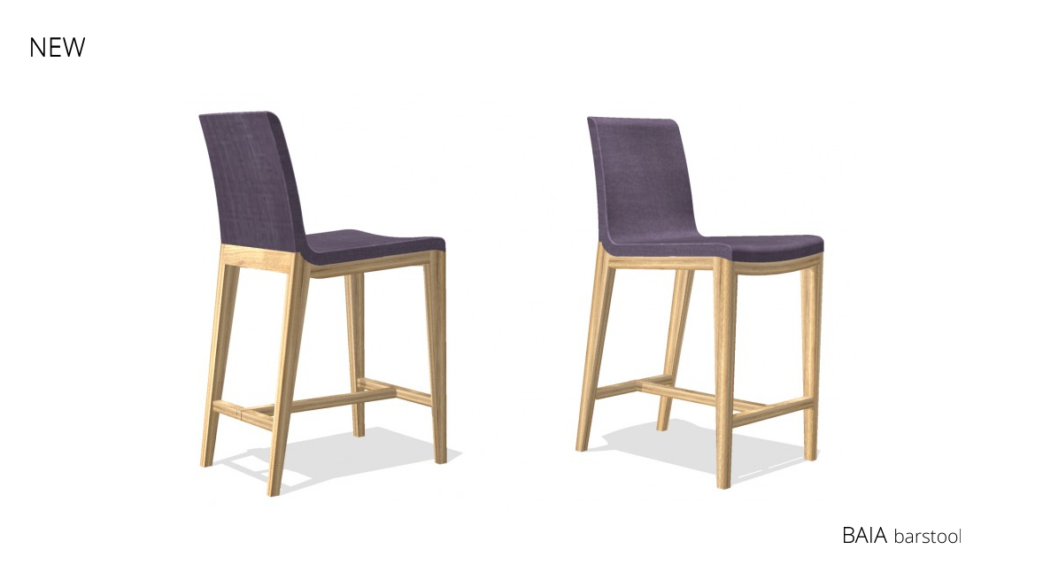 new barstool Baia with all-wood base and upholstered seating
