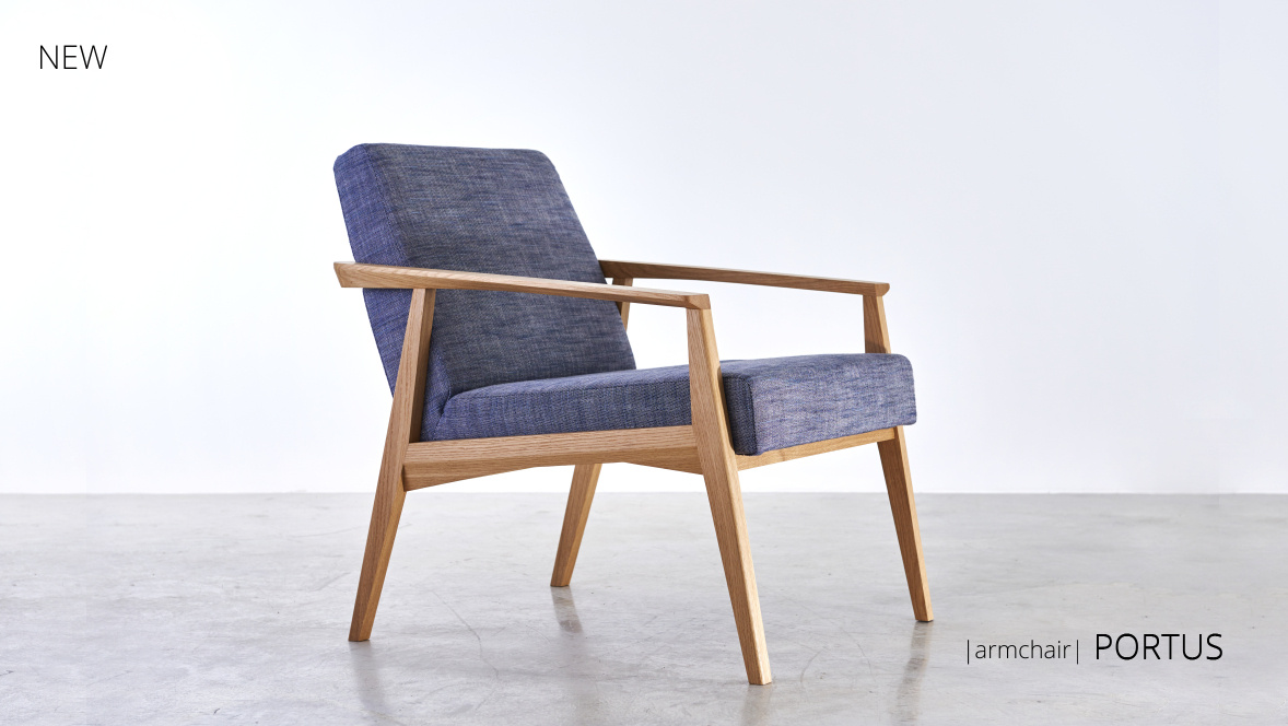 new Portus armchair made of solid wood